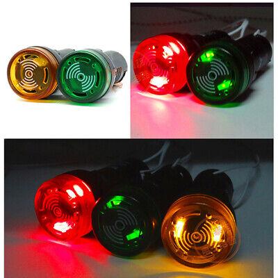 16 22mm LED Flash Warning Indicator Buzzer Alarm Signal Light 12V 24V 110V 220V 7