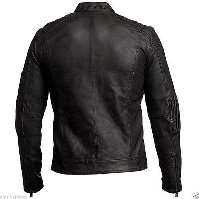Mens Biker Vintage Antique Black Cafe Racer Moto Real Lamb Leather Jacket
