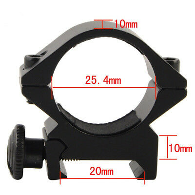 25.4mm Low QD Scope Laser Flashlight Ring Mount For 20mm RIS Gun Tactical 2