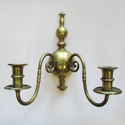 A Pair of Vintage Gilt Metal Wall Sconces Two-Light Candlestick Holders 4