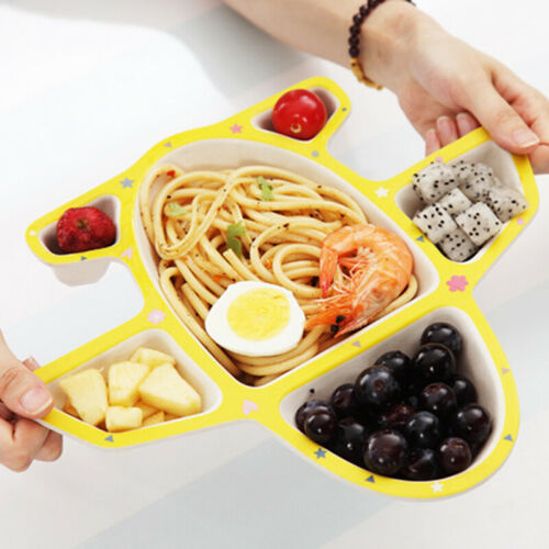 Infants Airplane Tableware Multicolor Plate Food Tray With Spoon Fork Dishes 6A 9