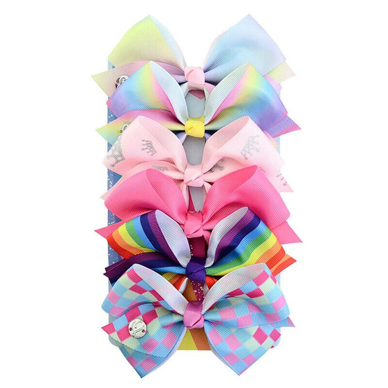 "US 4pcs//Set 5.0/"" JOJO Grosgrain Ribbon Hair Bow With Clip For Girls Kids Bowknot"