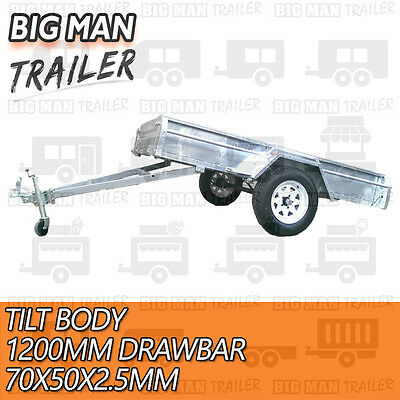 7x4 hot dip galvanised box trailer fully weld removable 600mm cage single tipper 5