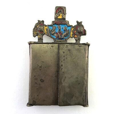Antique Russian Orthodox Enameled Brass Folding Travel Skladen Icon, 19th C. 4