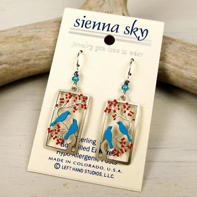 Sienna Sky Earrings 925 Sterling Silver Hook Two Birds in a Cherry Tree Handmade 2