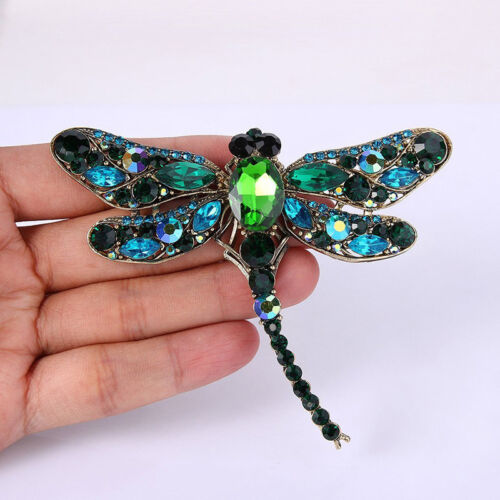 Glittering Animals Large Brooch Lapel Pin Crystal Dragonfly Jewelry IT