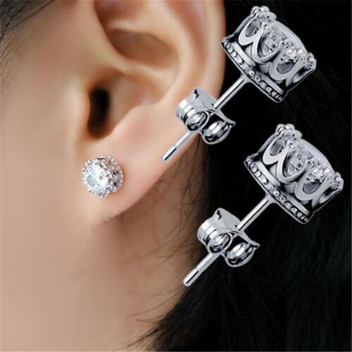 1 of 12FREE Shipping Vintage Women Men Silver Crystal Crown Charm Ear Studs Earrings Jewelry Gift New