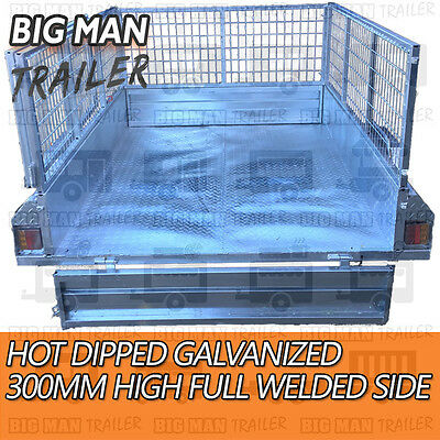7x4 hot dip galvanised box trailer fully weld removable 600mm cage single tipper 11