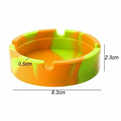 Glow in the Dark Silicone Round Ashtray Heat Resistant Camouflage Container Mini 9
