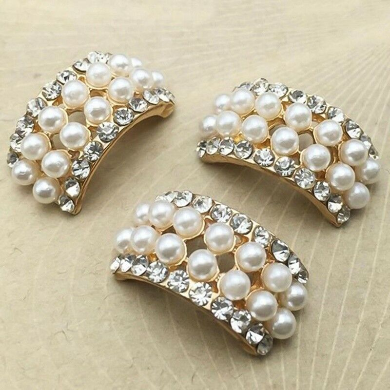 10pcs Rhinestone Crystal Faux Pearl Shank Buttons Sewing Craft Jewelry Accessory 6