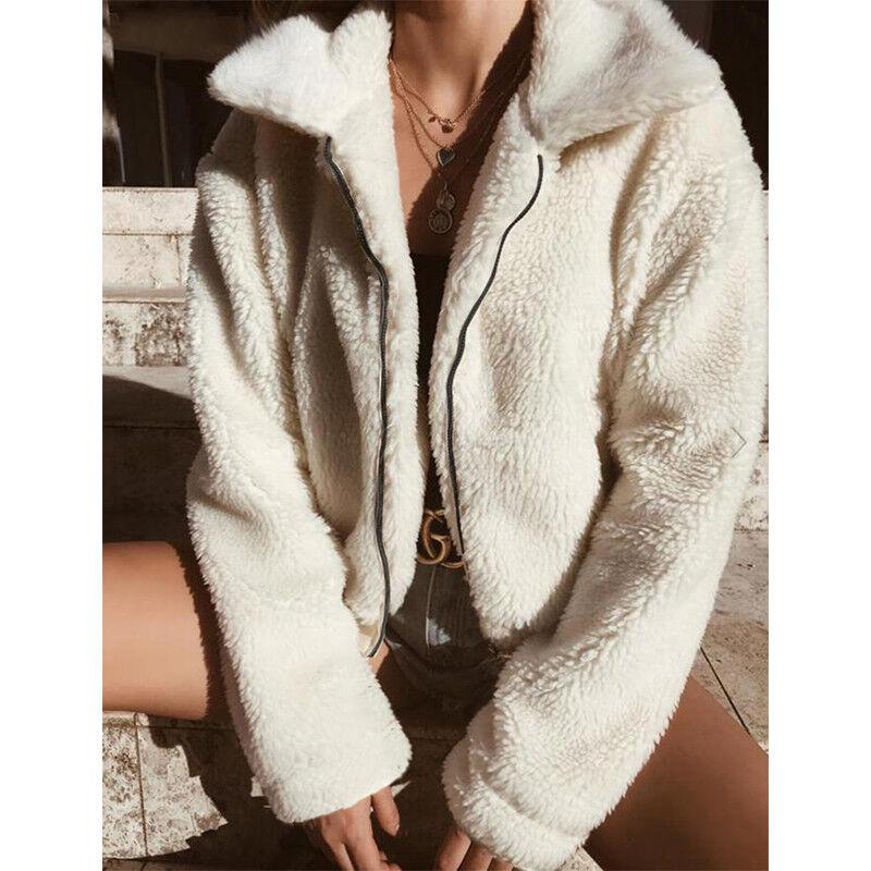 4f708c00710fbf Damen Fleece Jacke Teddyjacke Übergangsjacke Winter Warm Mantel Kurze  Pelzjacke 7 7 von 12 ...