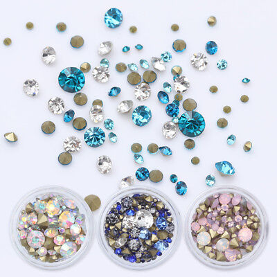 1728pcs Nail Art Rhinestones Glitter Diamonds Crystal Gems 3D Tips Decorations 12