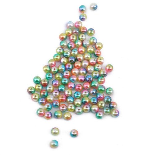 Round Imitation Plastic ABS Pearl Beads Needlework Craft Set Scrapbook Decor 6A 7