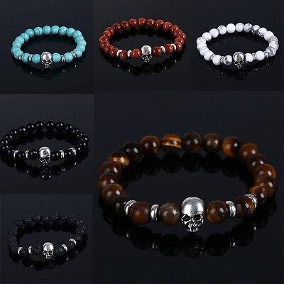 Hommes Femmes Mode Pierre Naturelle Perles de Bouddha Crâne Bracelet 4