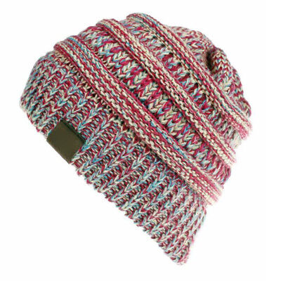 Women's Ponytail Beanie Ribbed Winter Messy Bun Cable Warm Soft Knit Hat AU 7