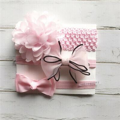 3pcs Set Newborn Baby Girls Floral Headband Ribbon Elastic Strap Hair Band Sets 3