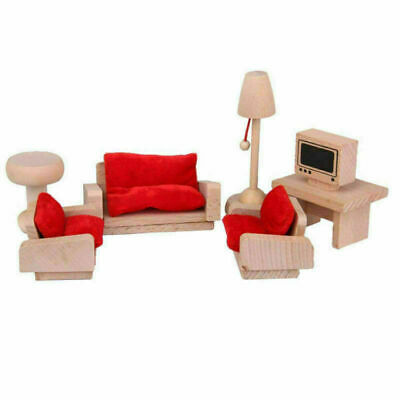 Kid Pink Wooden Furniture Dolls House Miniature 6 Room Set Doll For Gift DIY New 3
