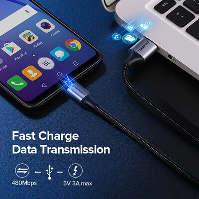 UGREEN Micro USB Cable Braided Fast Charger Data Cable For Samsung S7 S6 Xiaomi 3