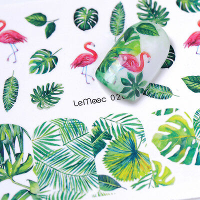 8Sheets LEMOOC Nail Art Water Decals Summer Theme Flamingos Transfer Stickers 8