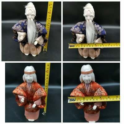 set of 2 Antique Ningyo Japanese Hina Old  Dolls TAKASAGO  Couple 12