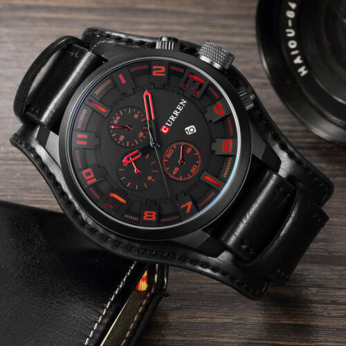 Curren Army Military Quartz Mens Watches Leather Boys Watch Casual Sport Watch 6