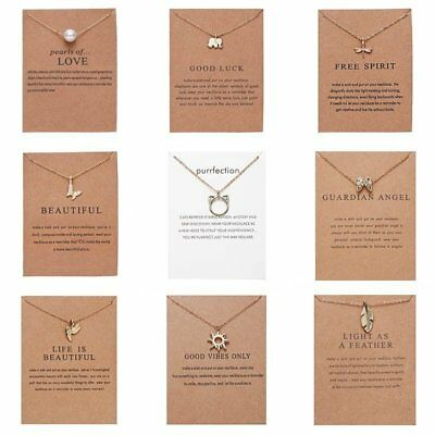 Women Animal Owl Cat Clavicle Short Paper Card Necklace Pendant Gold Chain Gift 2
