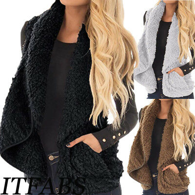 Women's Vest Outwear Fleece Knit Cardigan Sleeveless Sweater Jacket Coat USA