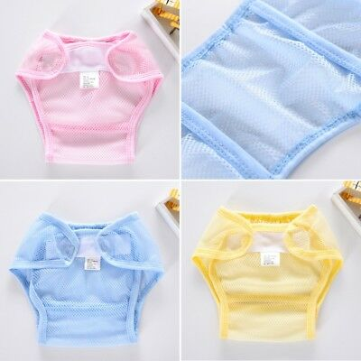 Soft Baby Washable Mesh Diaper Breathable Reusable Adjustable Diaper Nappy Cover 2