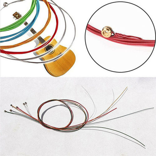 Acoustic Guitar Strings Guitar Strings One Set 6pcs Rainbow Colorful Color UK 6