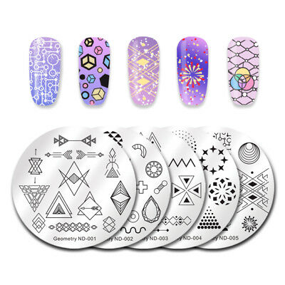 NICOLE DIARY Nail Art Stamping Plates Fantastic Tropical Geometry Image Plate 6