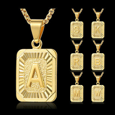 Womens Mens Gold Filled A-Z Initial Necklace Letter Pendant Box Chain Unisex 3
