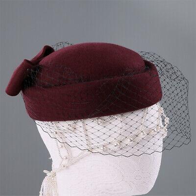 Ladies Felt Wool Fascinator Pillbox Wedding Bridal Beret Hat Headpiece CK013 7