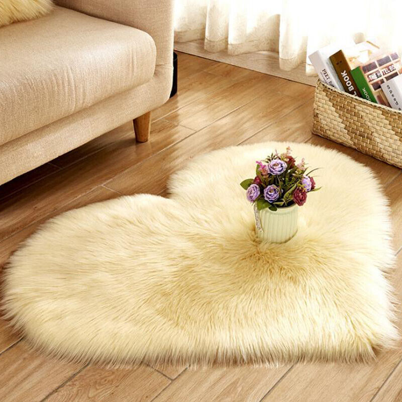 Heart Shaped Fluffy Rugs Anti-Skid Shaggy Area Rug Carpet Home Bedroom Floor Mat 10