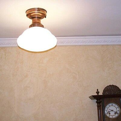 988 Vintage SchoolHouse Ceiling Light Fixture Glass bath kitchen hall office 4