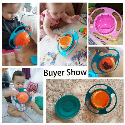 Baby Anti Spill Bowl 360 Rotate Universal Gyro Gravity Kids Feeding Training Cup 2