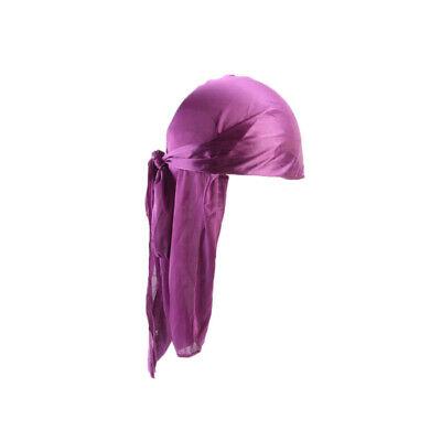 UK Durag Headwear Headband Pirate Cap Hat Smooth Silk Nylon Cap Solid Unisex New