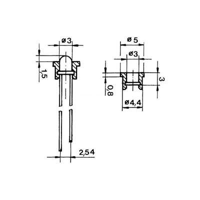 50x LED Anelli Montaggio F 3mm LED Versione Plastica Clip