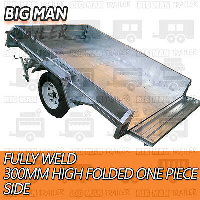 7x4 hot dip galvanised box trailer fully weld removable 600mm cage single tipper 6