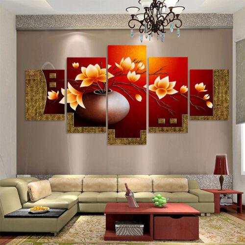 5PCS Flower Vase Canvas Wall Art Oil Painting Picture Print Home Decoration AU 2