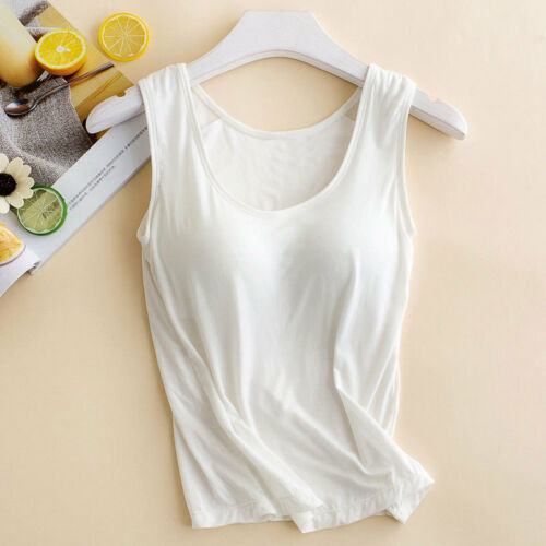 Women Ladies Camisole With Built In Shelf Bra Slim Sleeveless Tank Top Vest UK 8