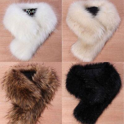 US Stock Trendy Women's Faux Fox Fur Winter Scarf Shawl Raccoon Fur Collar Scarf