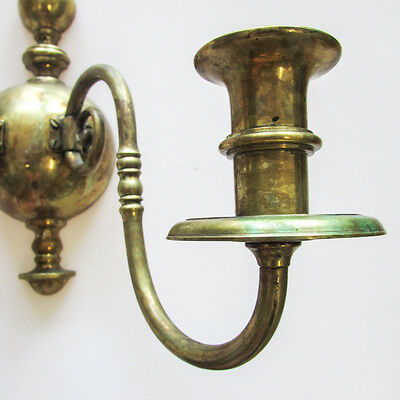 A Pair of Vintage Gilt Metal Wall Sconces Two-Light Candlestick Holders 7