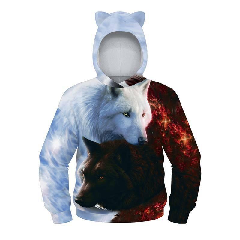 Kids Boys Girls Winter Hoodie Sweatshirt Wolf Printed Hooded Jumper Casual Tops 5