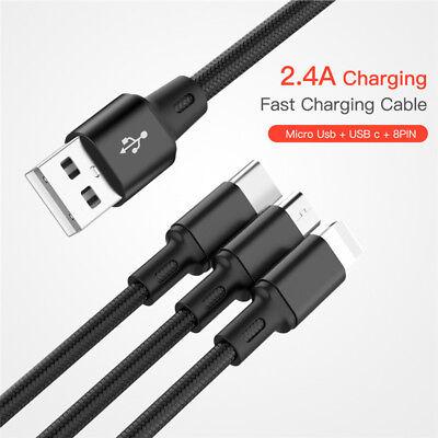Universal 3 in1 USB Multi Fast Ladekabel Kabel Für Samsung Galaxy S8 S9 S8 S9+ 8