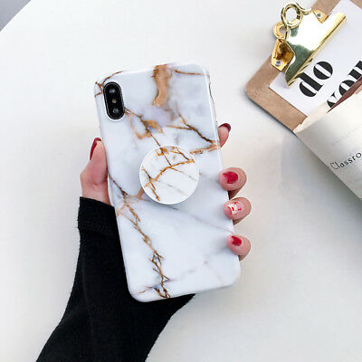 CHIC Marble Put Up Holder Soft Case Cover For iPhone X XR XS Max 8 Plus 7 6s 6 11