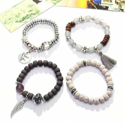 4Pcs I Love You Multilayer Natural Stone Crystal Bangle Beaded Bracelet Jewelry 4