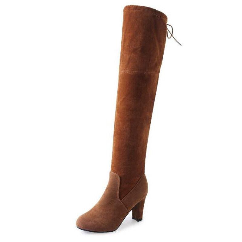 c334d8b4725a8 DAMEN WILDLEDER OVERKNEE Stiefeletten Party Blockabsatz Stiefel Boots Schuhe