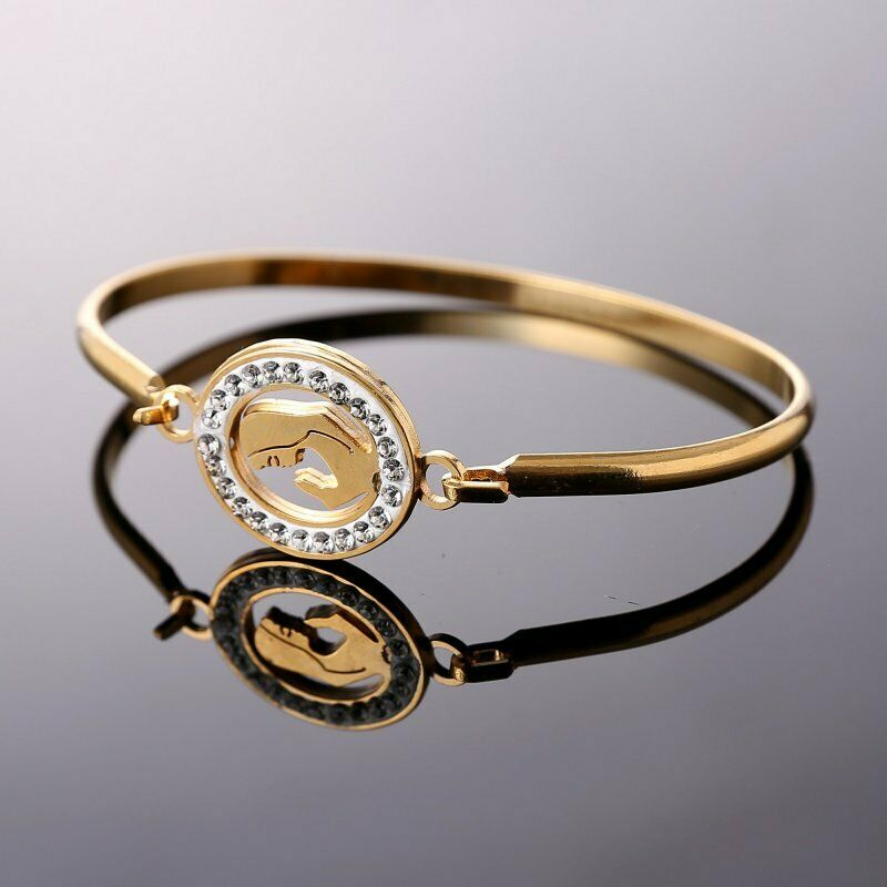 Mother Gold Stainless Steel Love Heart Women Cuff Bracelet Bangle Family Jewelry 9