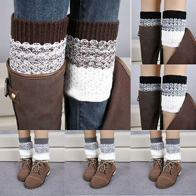 sourcing map Women Solid Warm Thick Knee High Knitted Leg Warmers
