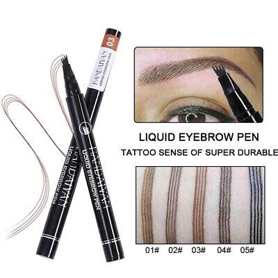 Microblading Tattoo Eyebrow 3D liquid Ink Pen waterproof 4 fork pencil brow UK 8